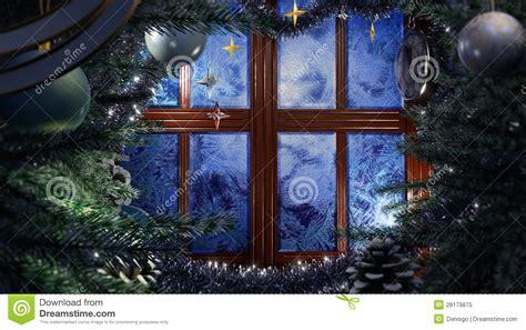 happy  year holiday scene  frost window royalty  stock photo image