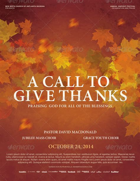 give thanks template a call to give thanks church flyer template by loswl on