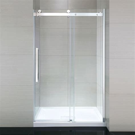 48 Sliding Shower Door Ove Decors 48 In X 81 5 In Frameless Sliding Shower Door In Chrome With 48 In Base