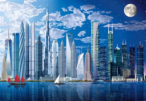 cityscape wall murals world s tallest buildings cityscape wall mural