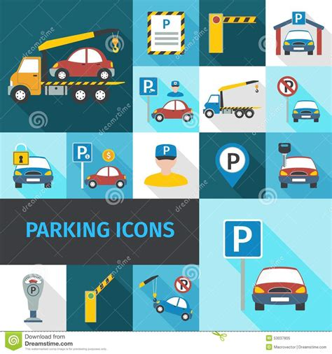 design icon cr park parking icons flat stock vector image 53037805
