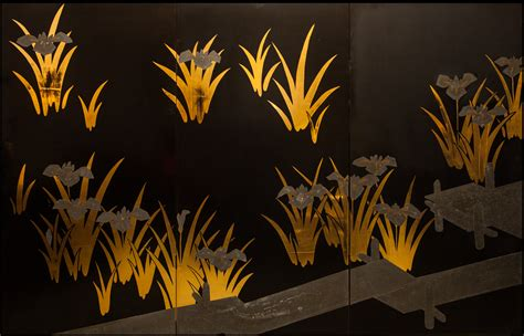 japanese black lacquer japanese screen black lacquer with gold and silver iris
