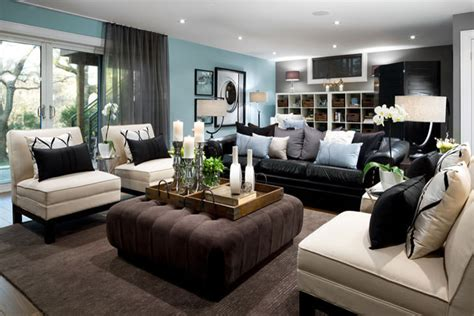 Black And White Chair And Ottoman Design Ideas Wonderful Black Leather Sofa Decorating Ideas For Living Room Modern Design Ideas With Wonderful