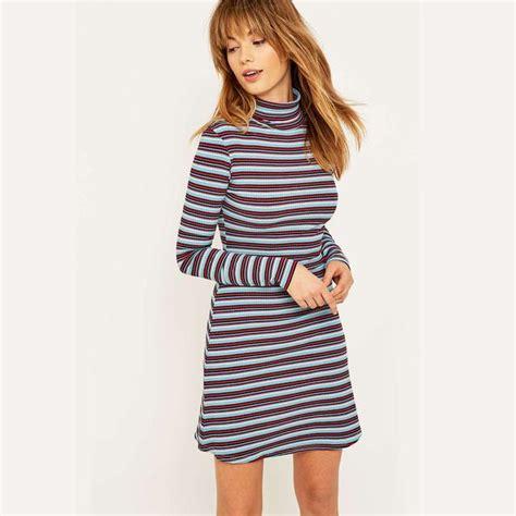 Striped Ribbed Turtleneck striped ribbed turtleneck dress endource
