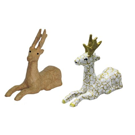 decopatch paper mache reindeer laying down n0739