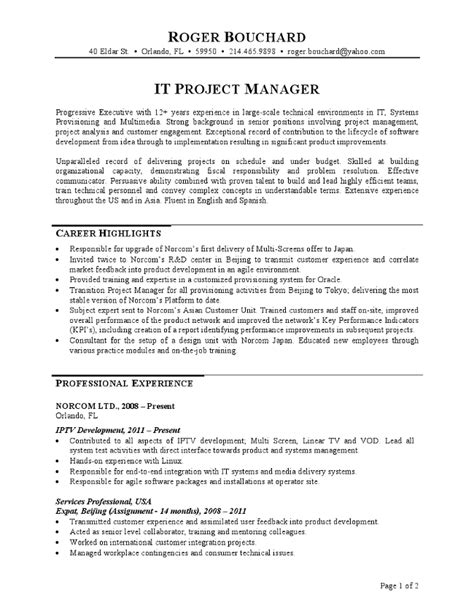 project resume sle sle resume it project manager 28 images construction