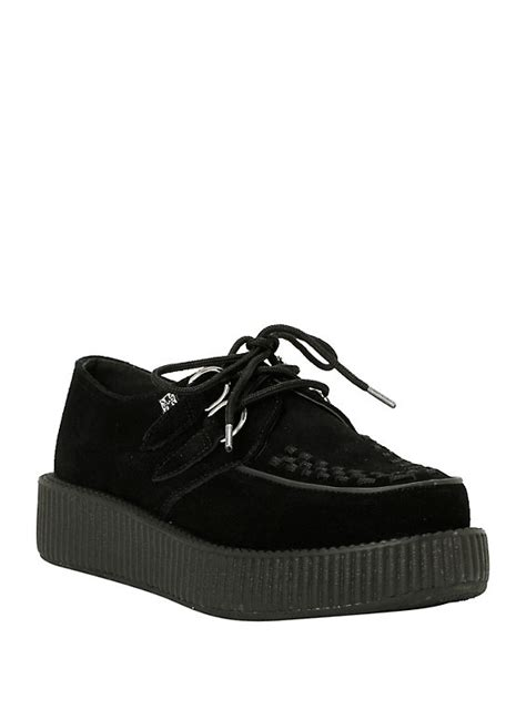t u k black suede low sole viva creepers hot topic