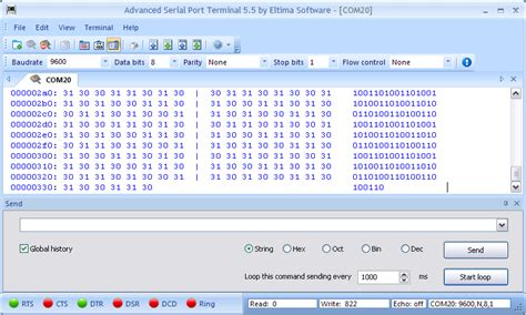 windows terminal program serial terminal rs232 send and receive various types of