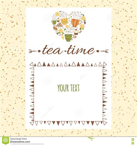 cafe menu template design with shape of and tea