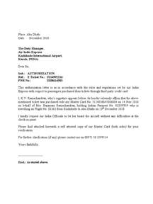 Authorization Letter Claim Credit Card authorization letter to air india