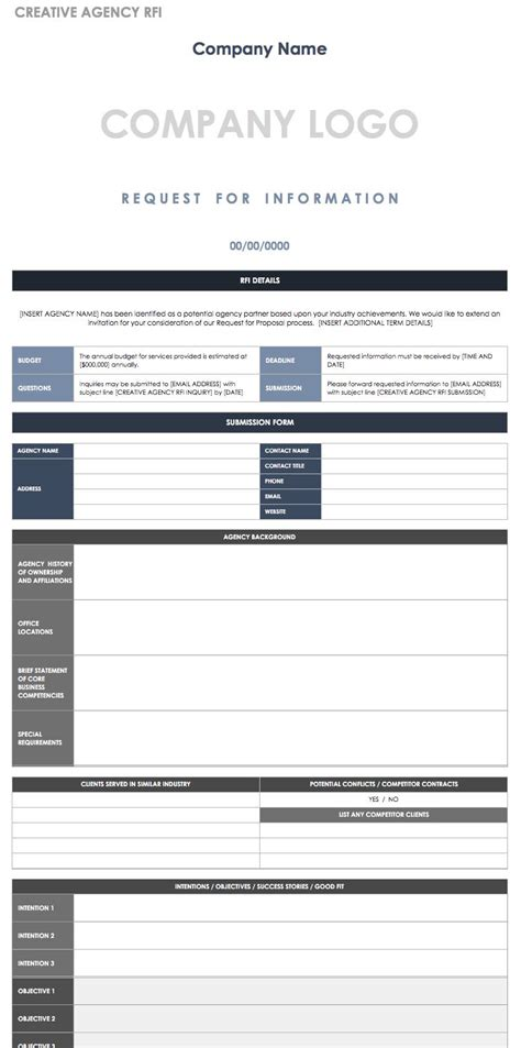 rfi response template free request for information templates smartsheet