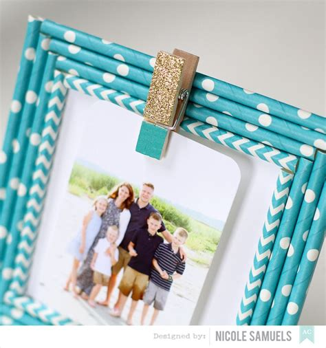 Paper Straw Craft Ideas - custom frames using paper straws add a clothespin for