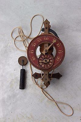 vintage  swiss buco wooden wall clock wood gears
