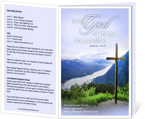 worship bulletin template church bulletin templates mountain with god all things