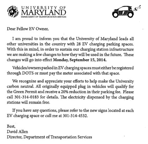 Howard Acceptance Letter 2014 Changes To In Parking Policies At Of