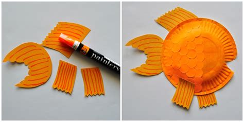 How To Make A Fish Out Of Paper Plate - 5 glue your fins to your paper plate finish your fish by