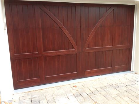 Custom Stained Clear Red Grandis Carriage House Wood Clear Garage Door