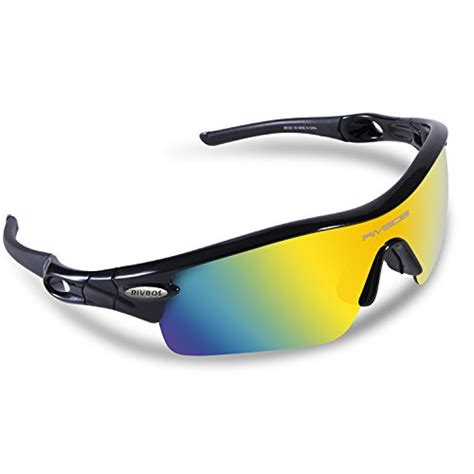 Oroginal Kacamata Sunglasses Sports Polarized Black rivbos 805 polarized sports sunglasses with 5 set interchangeable lenses for cycling black