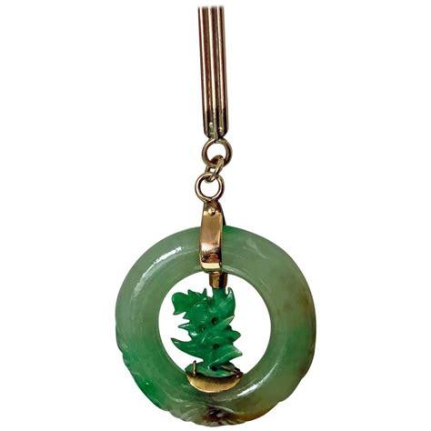 jadeite jade circle pendant in 14 carat for sale at 1stdibs
