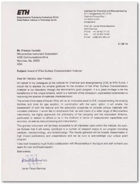 Letter Of Recommendation Eth Zurich micromeritics announces instrument grant to the institute