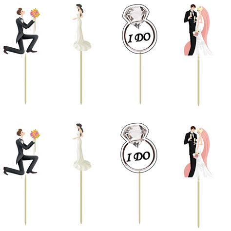 Aliexpress com buy groom amp bride wedding party decoration cupcake topper pick wedding theme