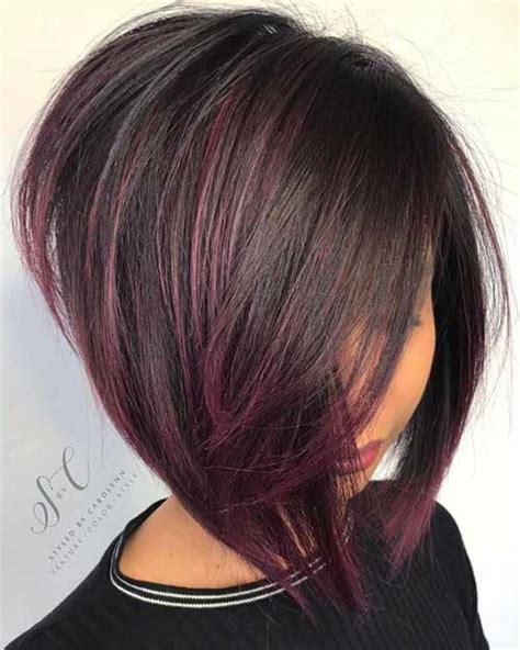 dark brown aline hair cut with highlights popular inverted bob haircuts 2018 hairiz