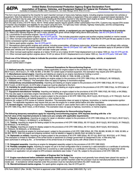 Fillable Epa Form 3520 21 United States Environmental Protection Agency Engine Declaration Data Protection Declaration Template