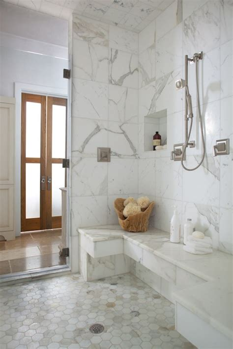 Marble Bathroom Showers Calcutta Gold Hex Tiles Transitional Bathroom Denman