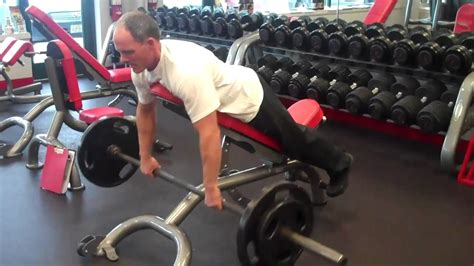 incline bench row barbell rows face down on incline youtube