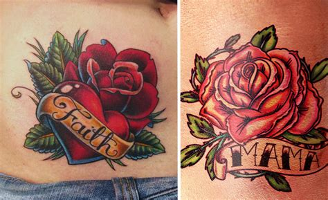 rose tattoo with banner tattoos page 9