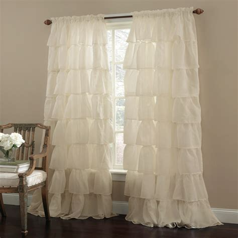 23 each shabby chic curtains gypsy ruffled window curtains home decorating diy