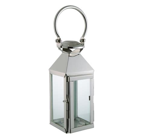 colette modern polished silver square candle lantern