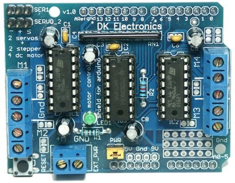 arduino motor shield dk electronics motor shield and micro servo motor exle arduino learning