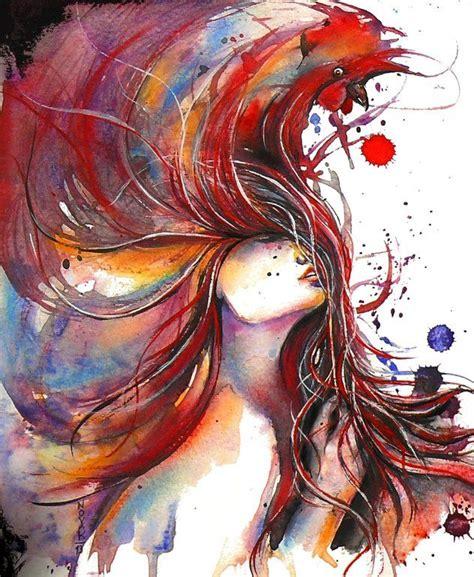 hairstyles watercolor saatchi online artist dreya novak watercolor 2013
