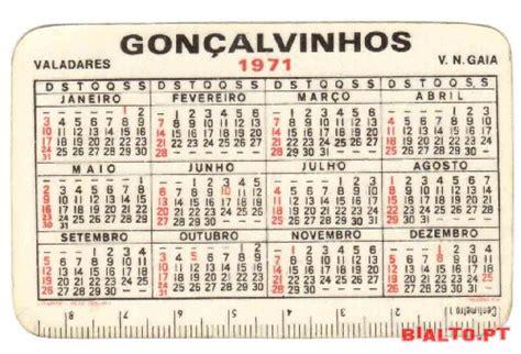Calendario De 1971 1 Calend 225 Do Ano De 1971 224 Venda Bialto Pt