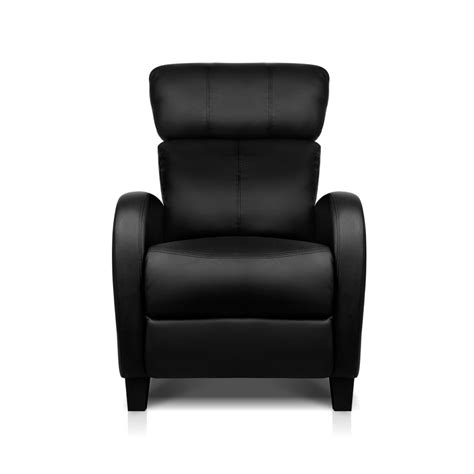single leather recliner chairs faux leather armchair recliner chair sofa black single new
