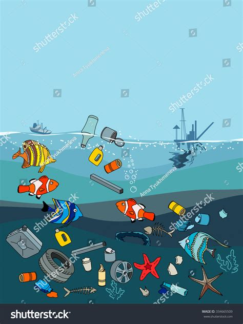 trash boat cartoon water pollution ocean garbage waste fish stock vector