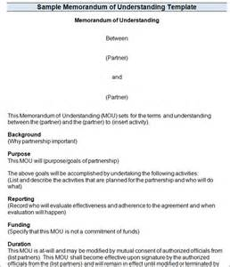 Mou Contract Template by Memorandum Of Understanding Templates Mou Templates