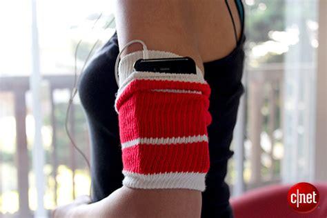 diy phone sock diy a dead simple workout armband cnet