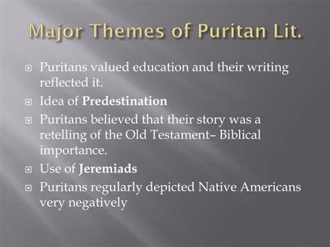 major themes of literature ppt puritan literature powerpoint presentation id 2287688