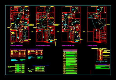 plano electrical installations dwg block  autocad