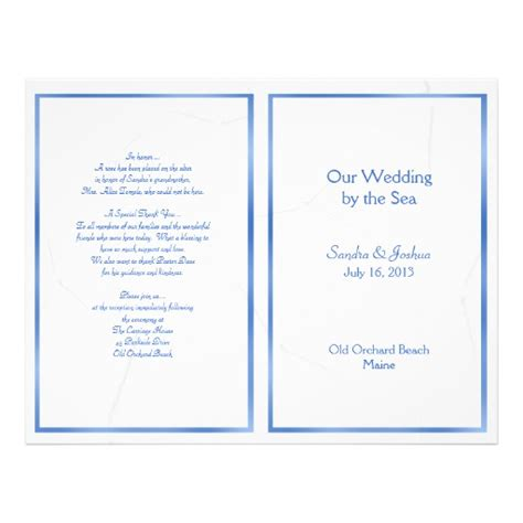 folded wedding program template starfish summer wedding program template folded flyer
