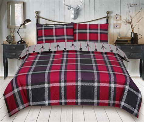 Bed Cover Ukuran 220 X 230 Microtex Polos Bed Cover Only check stag maroon bedding king duvet cover set 5060543350166