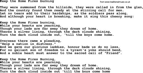 world war one ww1 era song lyrics for keep the home fires