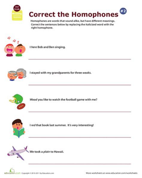 homophones worksheet for 2nd grade 2nd grade homophone worksheets education
