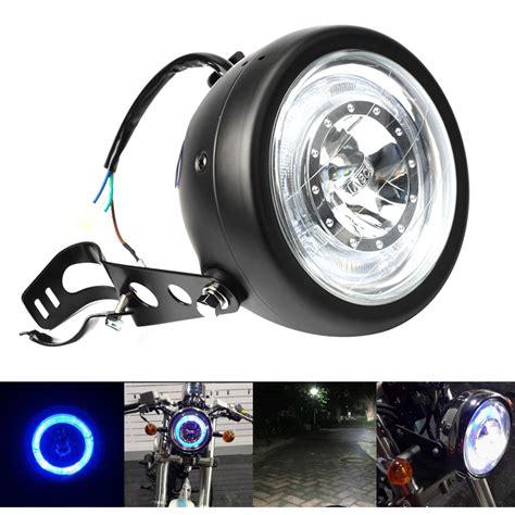 led len hersteller 6 5 quot universal motorcycle led headlight bulb blue halo