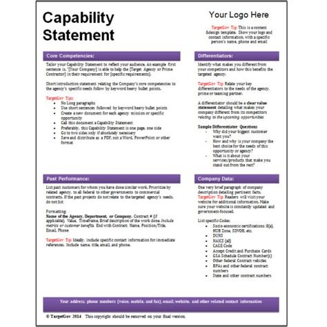capabilities statement template targetgov capability statement editable template targetgov
