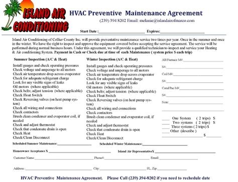 hvac maintenance agreement template preventive maintenance island air