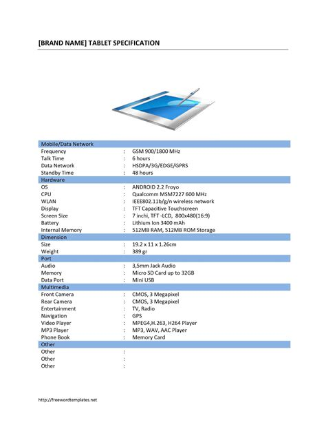 specification template tablet pc specification template free microsoft word