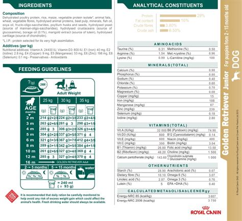 golden retriever food guide royal canin golden retriever junior food
